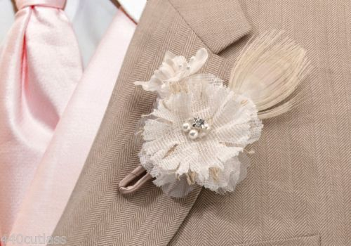 Rustic Country Charm Burlap Flower Wedding Boutonniere Groom Groomsman Best Man