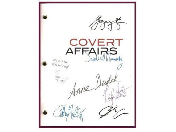 Covert Affairs Pilot Episode TV Script Autographed: Piper Perabo, Christopher Gorham, Kari Matchett, Anne Dudek, Peter Gallagher