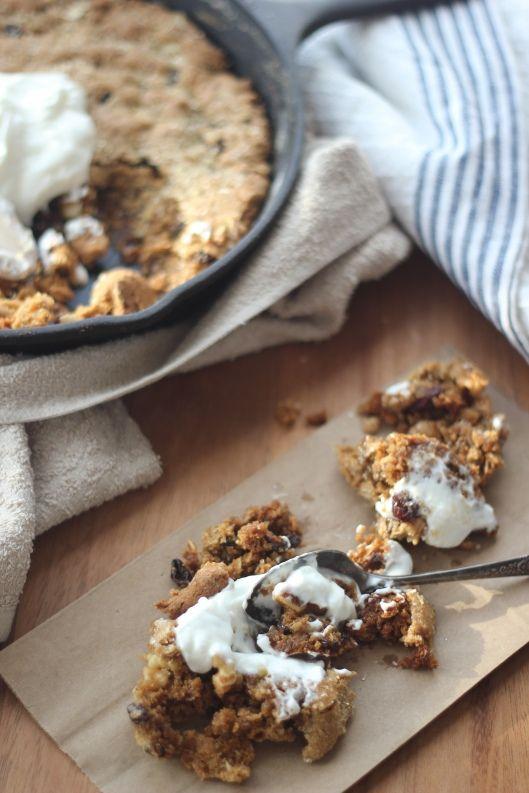 maple oatmeal raisin skillet cookie breakfast by Baker Bettie