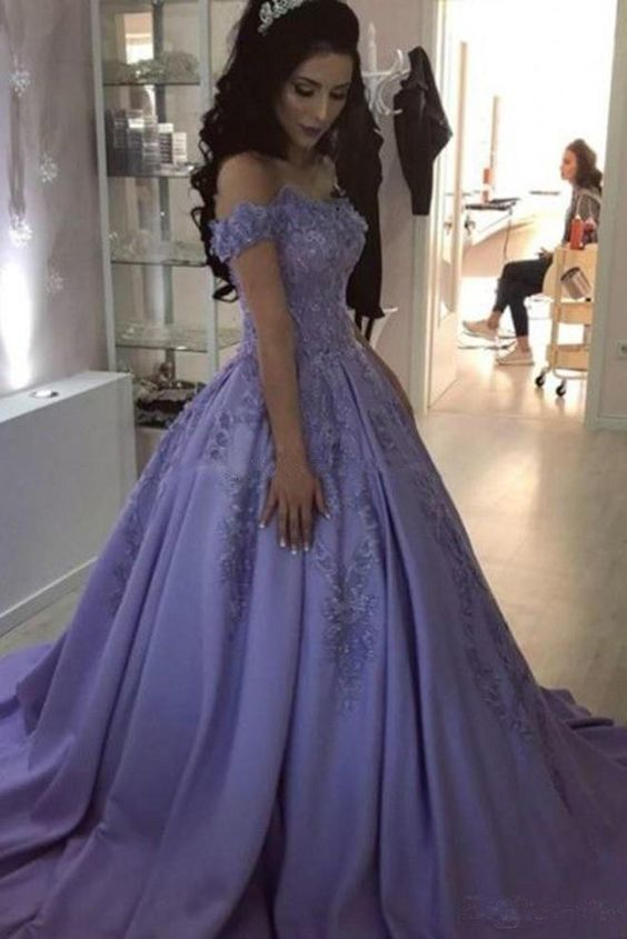 Purple Satin Off Shoulder Formal Dress 2019 Satin Sweet 16 Gowns Prom Dresses Ball Gown Ball Gowns Prom Ball Gowns Evening