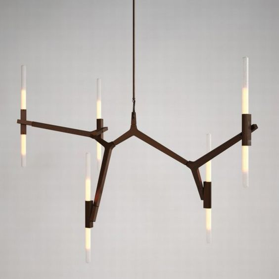 "Agnes is an elegant design, featuring a modular structure which can be assembled in configurations starting from a small, 10-light chandelier to a large, 40-light chandelier or even larger sizes. ""Agnes, in its ideal state, would be a very large fixture. You could fill up a whole ceiling,"" says the designer. Articulated joints allow for the bulbs to be rotated and arranged in a multitude of ways. The bulbs can be completely vertical, which is churchlike and formal. When the angles change, it…"