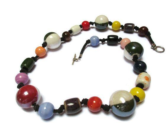 Multicolor ceramic necklace/Black suede and ceramic beads necklace/Boho necklace/Gypsy necklace/Handmade…