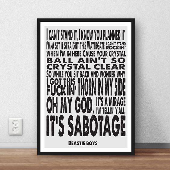 """Beastie Boys-Zitat - """"Sabotage"""" Poster nach Hause Wandkunst zitieren Plakat Music songtexte von CountryHouseStudios auf Etsy https://www.etsy.com/de/listing/400223351/beastie-boys-zitat-sabotage-poster-nach"""