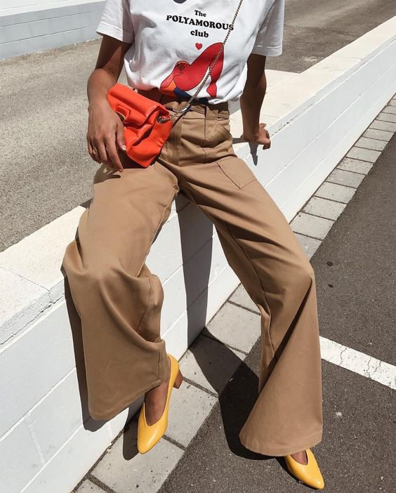 high-waisted, wide-leg trousers