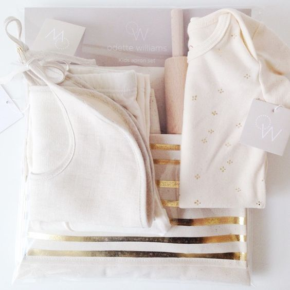 Sweet package heading out for the Petit Chef and Sous Chef to be = Gold Foil Stripe Apron Set + Gold Foil Flower Onesie + Linen Bib