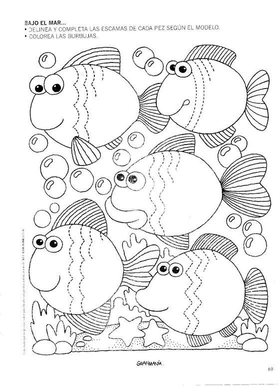 schrijfpatroon vissen, free printable