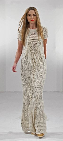 Cream Fantasy Aran maxi Dress by Natallia Kulikouskaya, Ireland 2013: