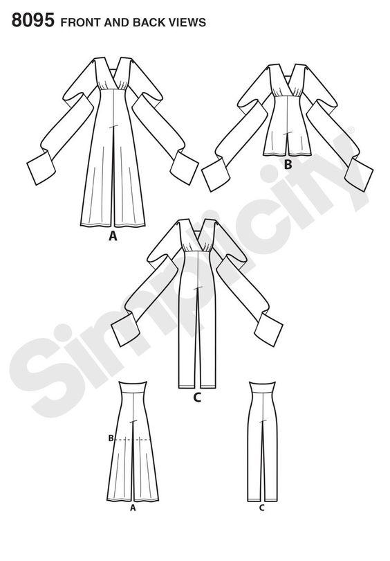 Simplicity 8095 Misses' Knit Wrap, Twist & Tie Jumpsuit and Romper