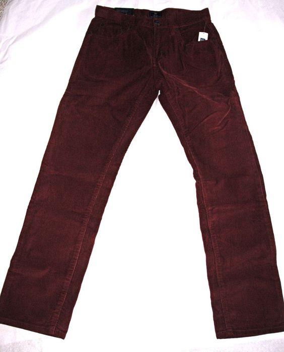 Men&39s Gap Straight Fit Corduroy Jeans Maroon 29x30 $49.99 NWT GAP