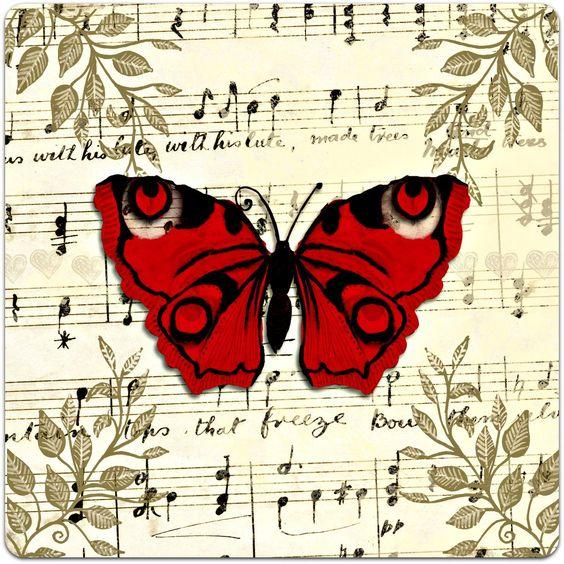 Carte double 'Le Papillon rouge' style oriental faite à la main 15cm x 15cm : Cartes par card-bubble