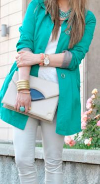 teal trench & white jeans