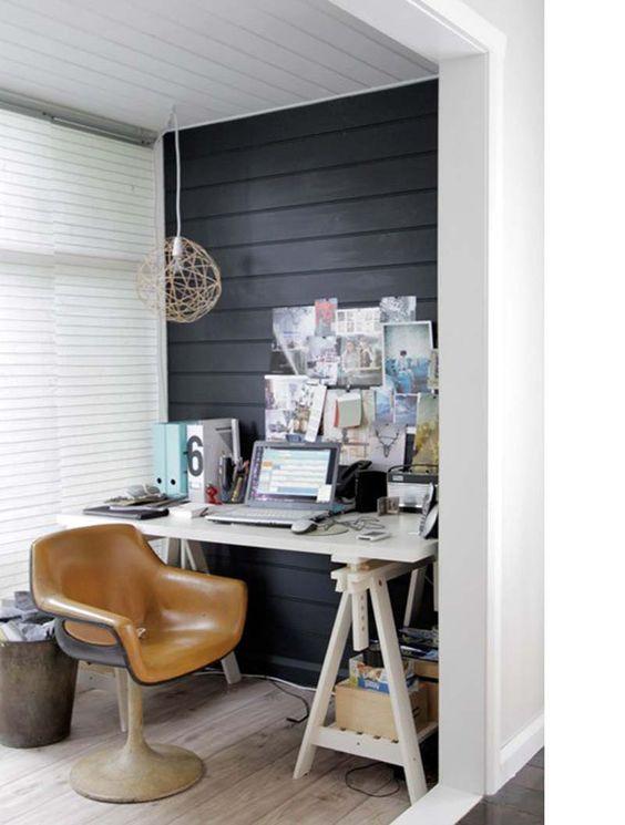 love the horizontal dark wood wall...