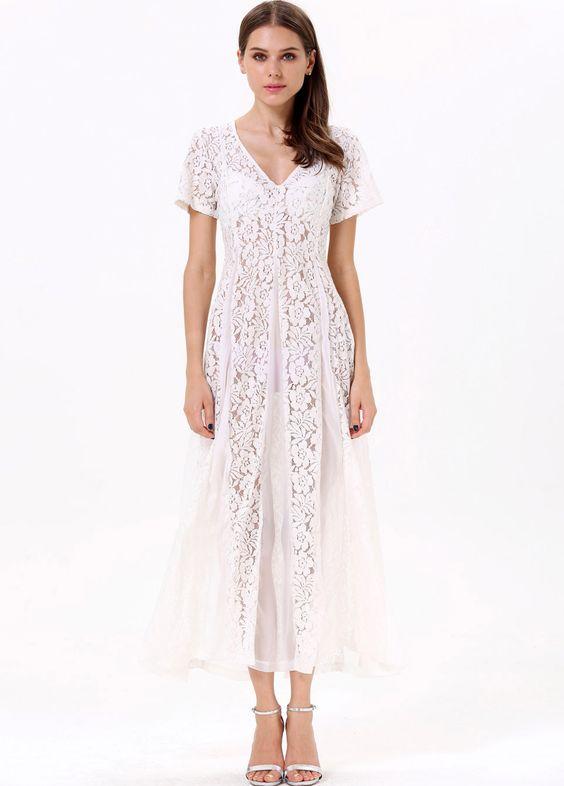 White Short Sleeve Sheer Lace Chiffon Dress - I NEED THESE OR I ...