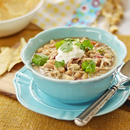 Cozy up with a with a tasty bowl of White Chicken Chili! So easy to make!