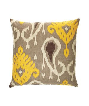 Batavia Citrine cotton-and-linen pillow with feather-and-down fill (20 inches square), $72, dwellstudio.com.