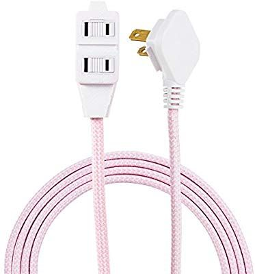 Amazon Com Cordinate Designer 3 Outlet Extension Cord 2 Prong Power Strip Extra Long 8 Ft Cable With Flat Plug Br Chevron Fabric Extension Cord Power Strip
