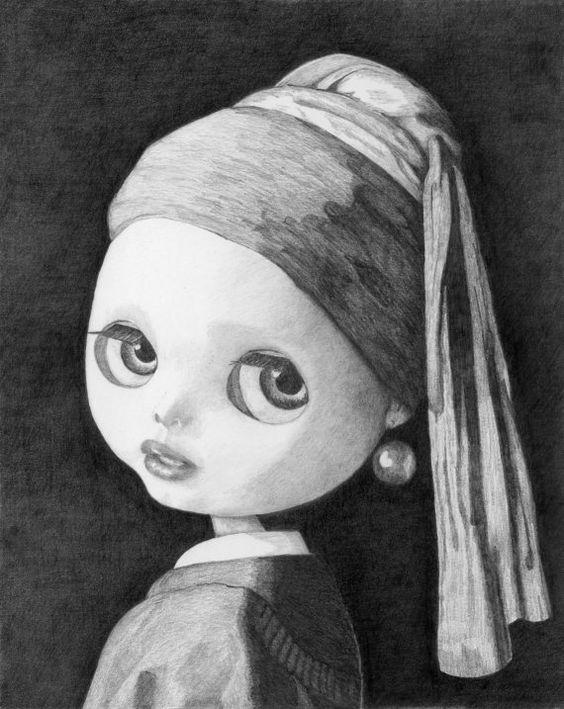Blythe con un arete de perla impresión de por Friend2Blythe