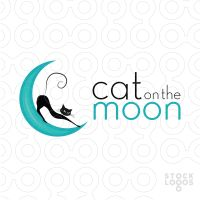 Cat on the Moon 200x200 44 Diseños de logos con ilustraciones de la luna