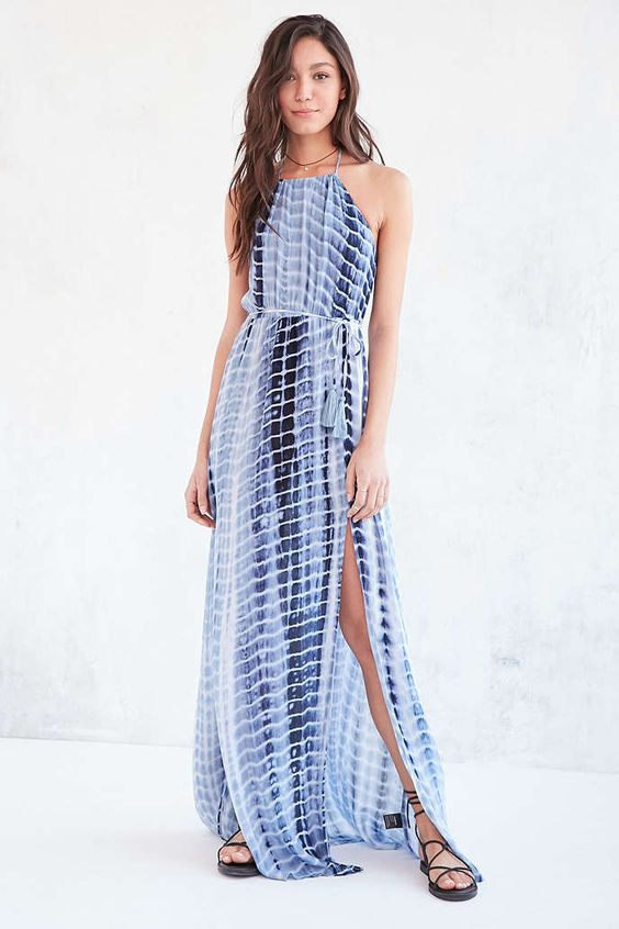 Ecote Tie-Dye High-Neck Halter Maxi Dress - Urban Outfitters
