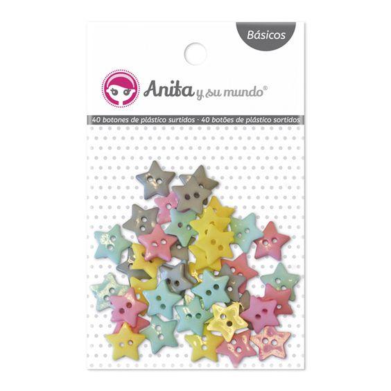#Botones de plástico en forma de #estrella, surtidos en colores pastel. 10 unidades por color. Medida: 1 cm. Ideales para pegar o coser a tus trabajos de #scrapbooking.