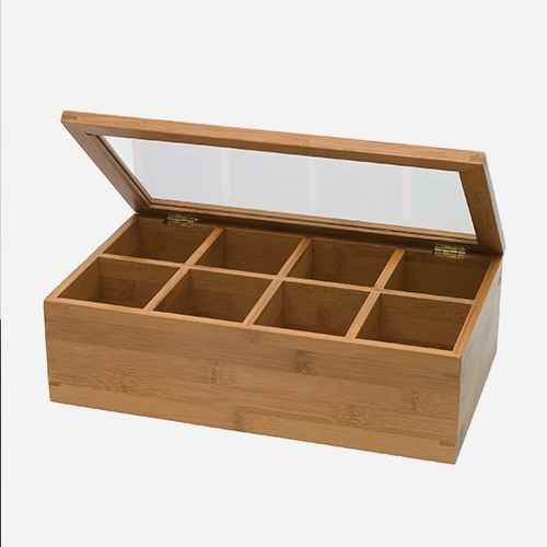 Lipper International Bamboo 8 Compartment Tea Box With Acrylic And Bamboo Lid Tea Box Wood Tea Box Wooden Tea Box