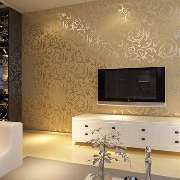 European style golden silver simple european pvc wallpaper for Living room paper ideas