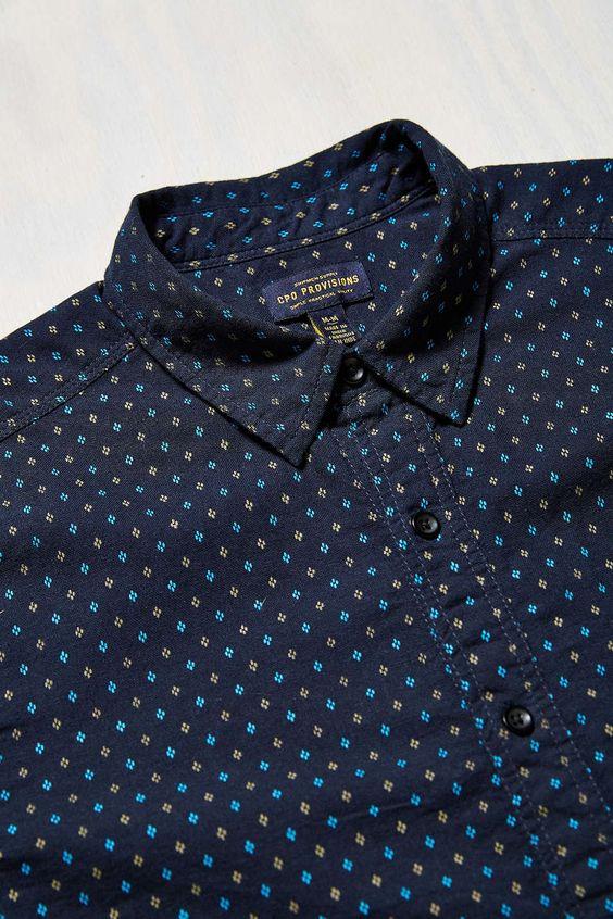 CPO Diamond Dot Short-Sleeve Button-Down Shirt