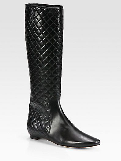 Manolo Blahnik - Iriebot Quilted Leather Knee-High Boots - Saks.com