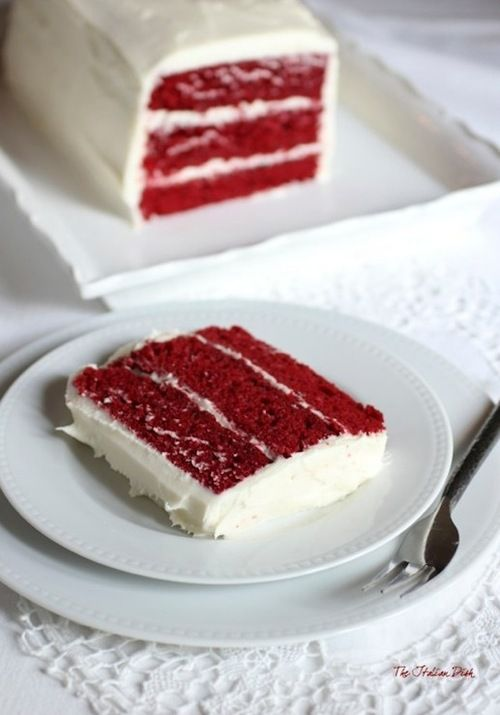 red velvet layer cake with cream cheese frosting.
