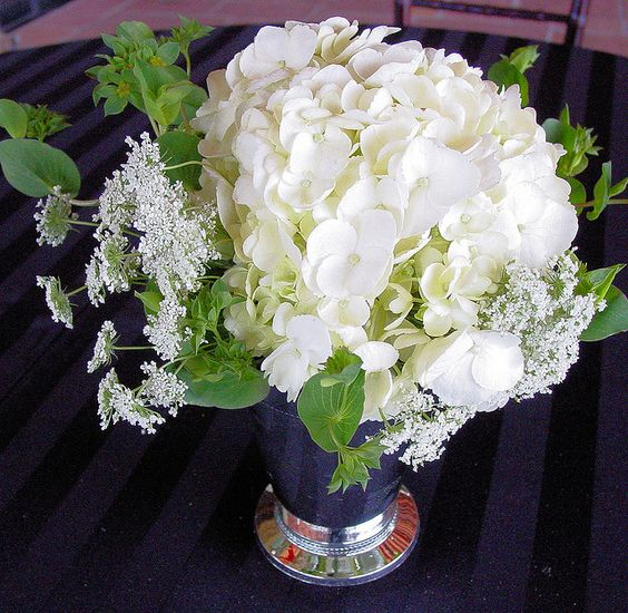 mint julep cup filled with hydrangea wedding reception centerpiece by Brilliant Blooms, via Flickr