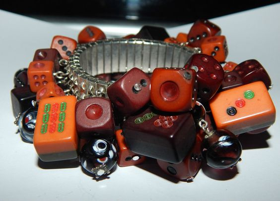 Expansion Bracelet with Dice, Mahjong Tiles, and Art Glass Beads, Unsure of Age