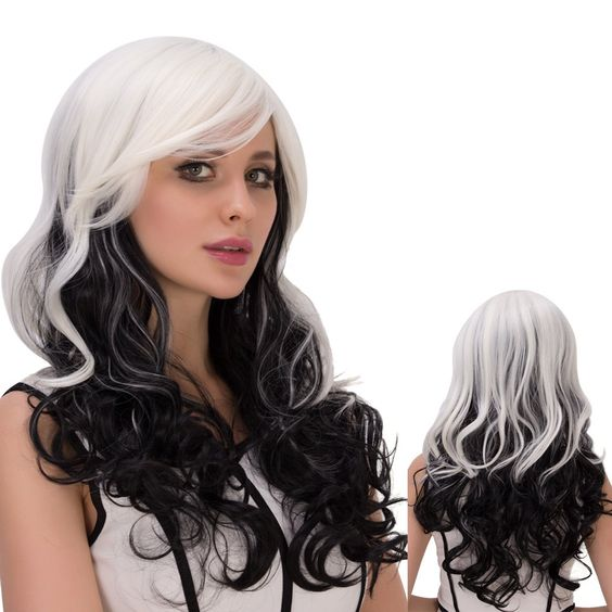 $19.63 Inclined Bang Long Ombre Wavy Synthetic Lolita Wig