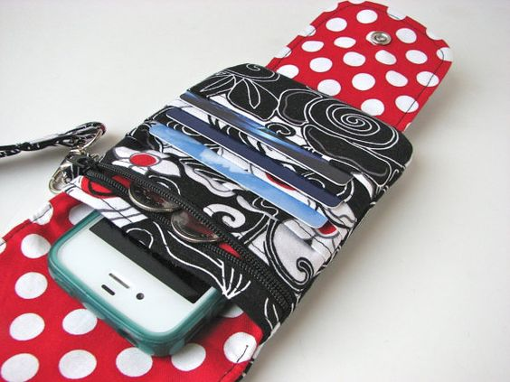 iPhone Wristlet iPhone wallet in Black White and Red by bluecalla