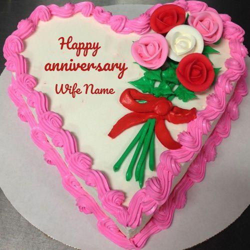 Want To Wish To Write Name On Happymarriageanniversarycake And Flowers Cake To Yo In 2020 Happy Anniversary Cakes Happy Marriage Anniversary Cake Valentine Heart Cake