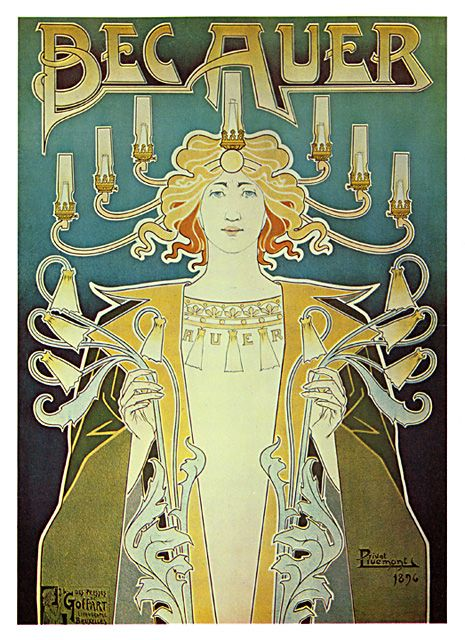 Art Nouveau Poster - Becauer - from the 1890's.