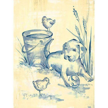 Oopsy Daisy - Toile Puppy Canvas Wall Art 18x24, Heather Gentile-Collins