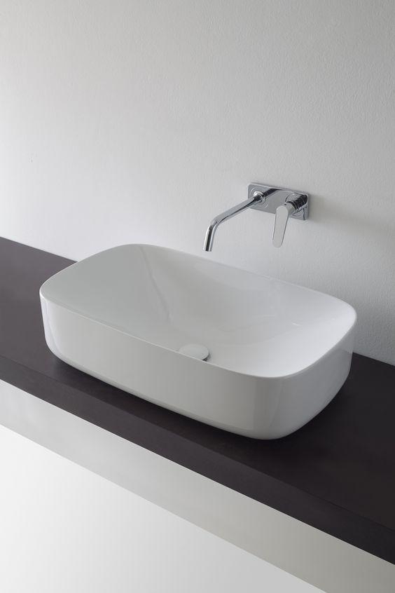 Lavabo da appoggio rettangolare in ceramica MOON - Scarabeo Ceramiche