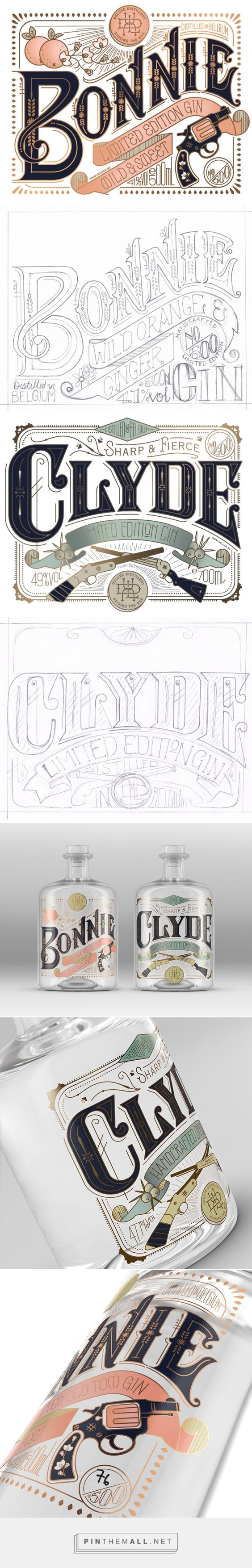 Bonnie & Clyde Gin Packaging Design by Pearly Yon (South Africa) - http://www.packagingoftheworld.com/2016/05/bonnie-clyde.html