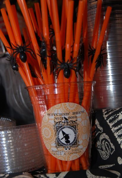 Host a Witch Party Straws, Spider and Witches Brew - diy halloween party decorations