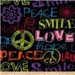 Fleece Words of Friendship Black/Multi Fabric