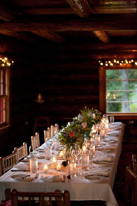 Dinner at the Lake Cabin.