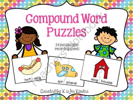 Compound Word Puzzles from K is for Kinder on TeachersNotebook.com ...