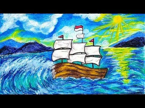 Cara Menggambar Dan Mewarnai Kapal Layar Di Laut Gradasi Warna