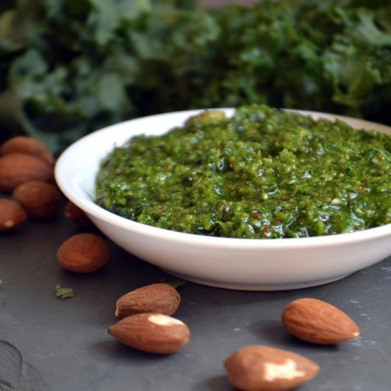 Winter Kale and Almond Pesto - this is a delicious way to to make a simple dish very special. If you like, make it vegan!