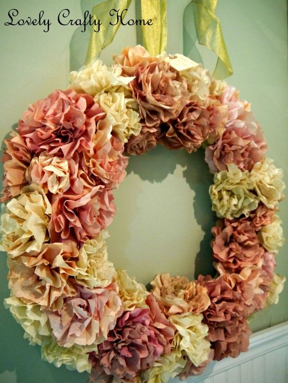 Wreath made from coffee filters