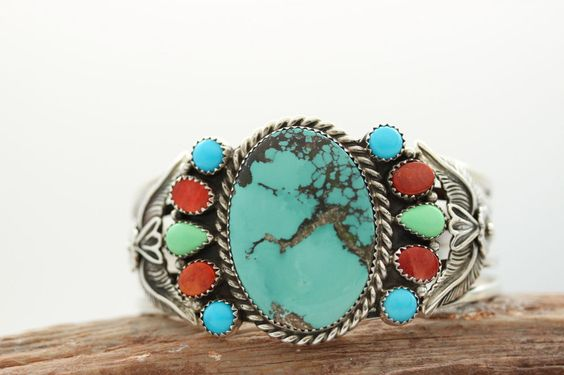 Vintage Navajo .925 Sterling Silver Turquoise Cuff Bracelets Signed Shakey #Cuff