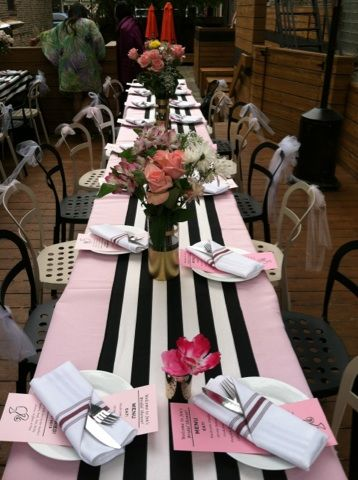 Black and white striped themed bridal shower