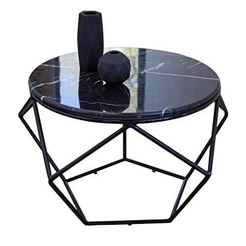 Creative Wrought Iron Coffee Table Black Marble Texture Desktop