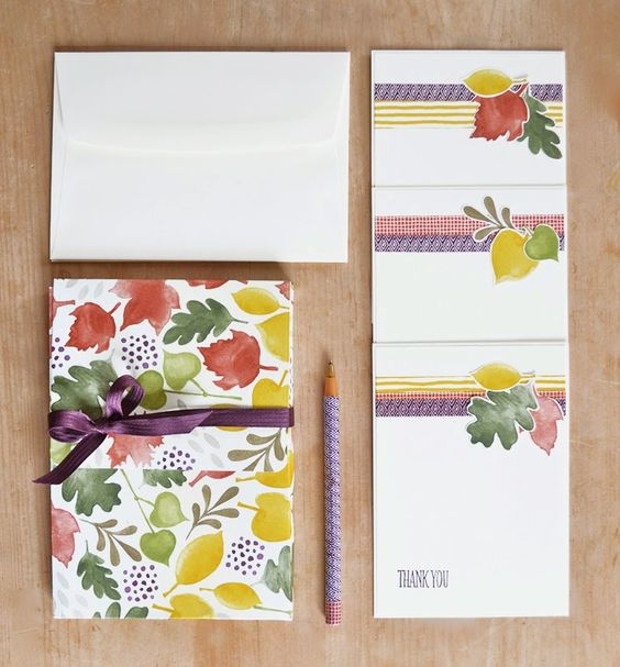 Here's a gift idea using Stampin' Up's gorgeous Color Me Autumn designer paper and washi tape - a box of thank you cards! - Vicky Hayes
