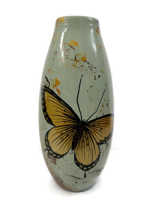 VINTAGE SHABBY CHIC YELLOW BUTTERFLY DESIGN BULLET VASE TALL 31CM